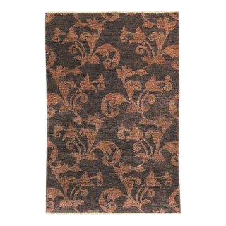 """Contemporary Hand Woven Brown Wool Rug - 3'11"""" x 5'8"""""""