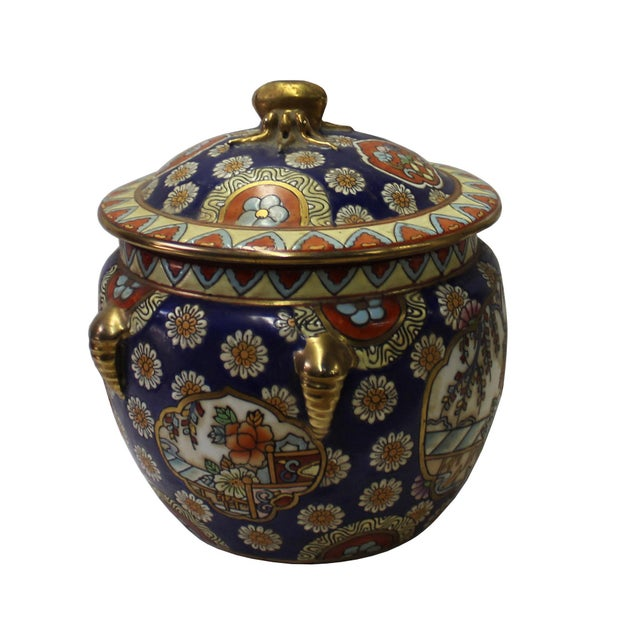 Chinese Oriental Porcelain Flower Scenery Container Box - Image 2 of 6