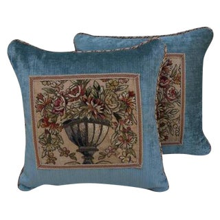 19th Century Metallic & Chenille Embroidered Textile Pillows - A Pair