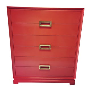 Vibrant Coral Lacquered Chest
