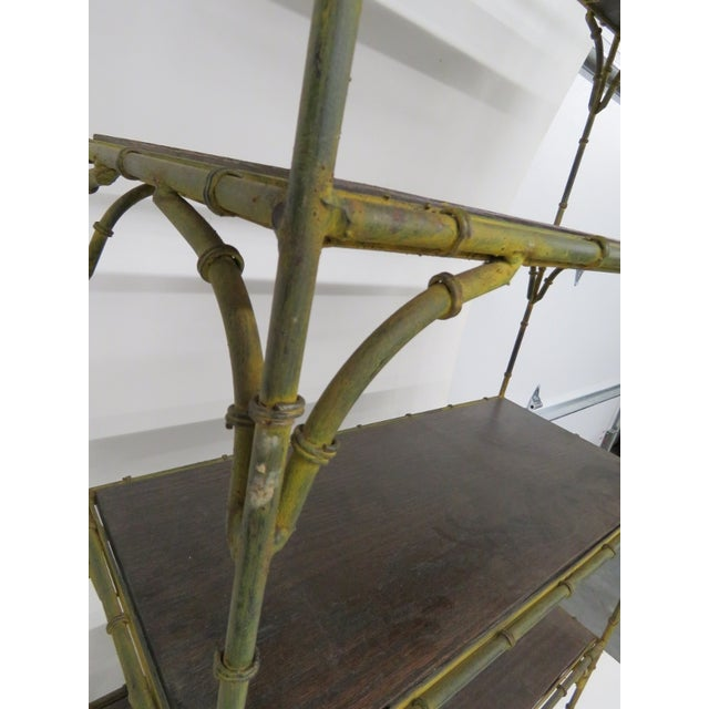 Distressed Painted Metal Faux Bamboo Etagere - Image 4 of 4