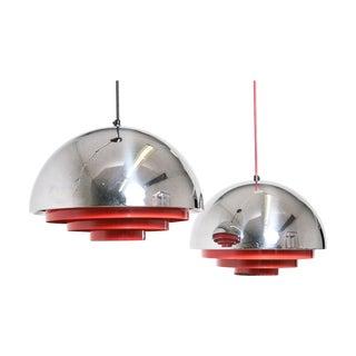 Jo Hammerborg Milieu Chrome Pendant Lamps - A Pair