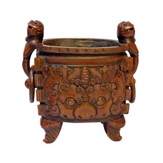 Bamboo Handcrafted Quality Vintage Chinese Oval Shape Foo Dog Handle Ding Incense Burner