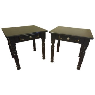 High Gloss Black Side Tables With Nailhead Detail