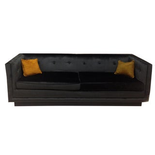 Custom Glam Velvet Midnight Blue Tufted Sofa