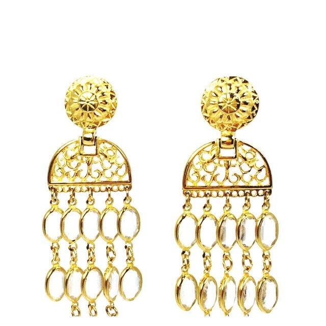 Image of Balmain Gold & Crystal Shoulder Duster Earrings