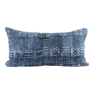 Botanical Blue Mudcloth Pillow