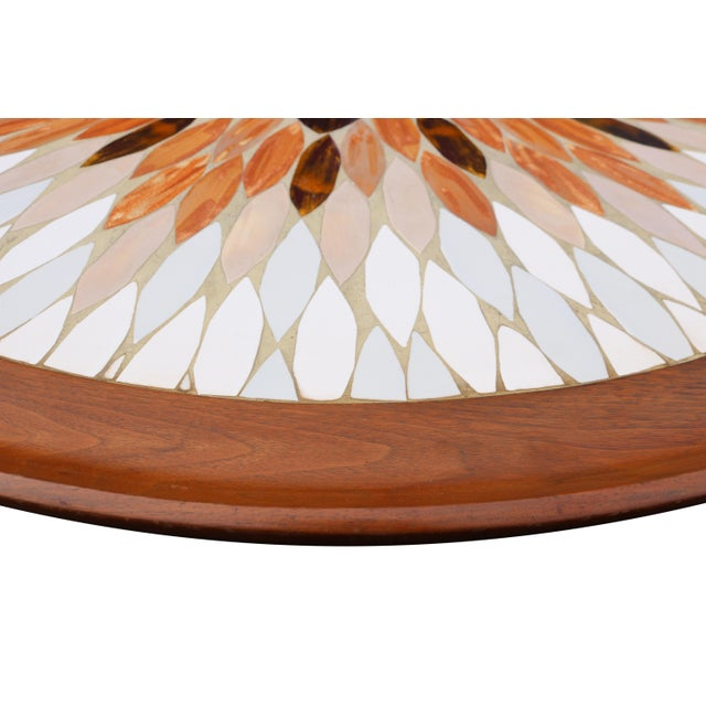 Hohenberg Mid-Century Round Tile Top Coffee Table - Image 4 of 6