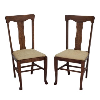 Solid Oak Traditional Dining Chairs - A Pair