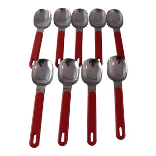 Mid-Century Red Plastic and Stainless Steel Spoons - Set of 9