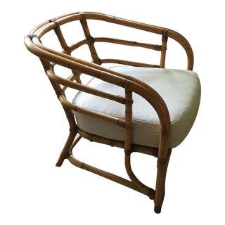 Mid-Century Bamboo Rattan Barrel Back Chair
