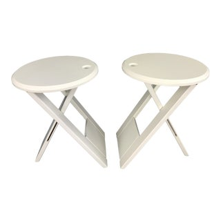 White Folding Stools by French Designer Roger Tallon - A Pair