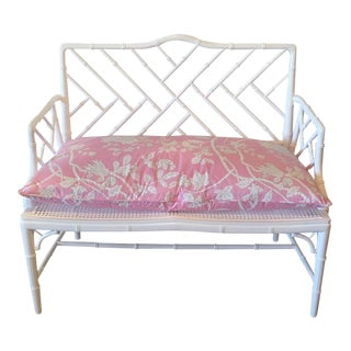 Chinese Chippendale Faux Bamboo Lacquered Pink Cushion Arm Bench
