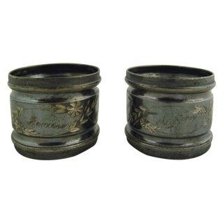 Fannie & Abram Silver Plate Napkin Rings - Pair