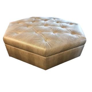 Truex American Furniture Silver Lizard Pressed Leather Heptagonal Ottoman