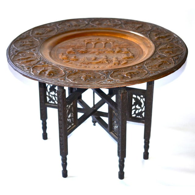 Anglo-Indian Copper Tray Table With Folding Wooden - Image 2 of 6