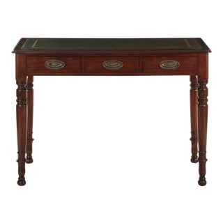 Regency Style Mahogany and Green Leather Antique Writing Desk, 19th Century