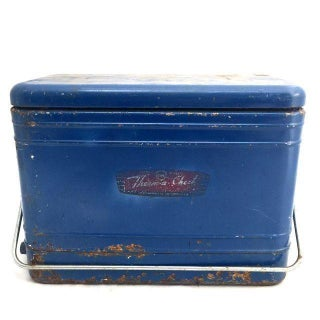 Vintage Blue Metal Cooler