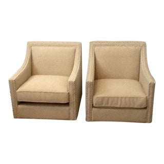 Cloth Tan Armchairs - A Pair