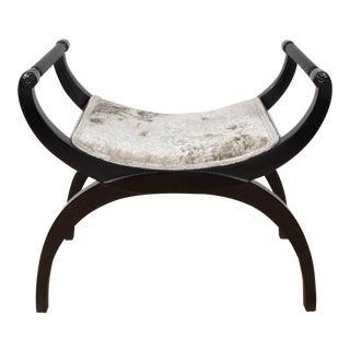 Gorgeous Mid-Century Modernist Bench or Stool in Oyster Gauffraged Velvet