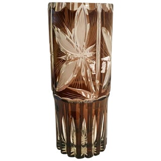 Aregentinian Cut Crystal Amber Brown Vase