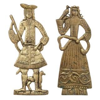 Mid-Century Danish Brass Man & Woman Wall Hanging