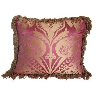 Vintage Silk Damask Fringe Pillow