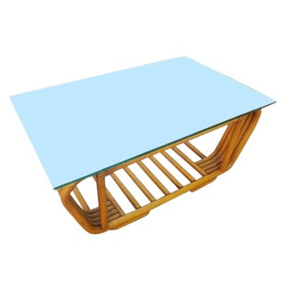 Mid-Century Rattan Coffee Table With Floating Glass Top