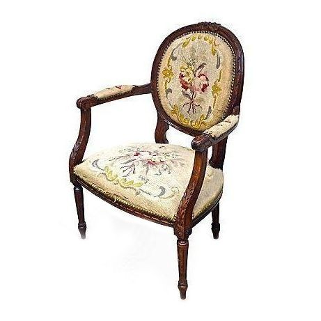 antique french needlepoint fauteuil chairish. Black Bedroom Furniture Sets. Home Design Ideas