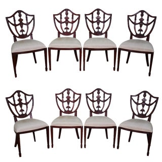 Maitland Smith Solid Mahogany Federal Style Shield Back Dining Chairs - Set of 8