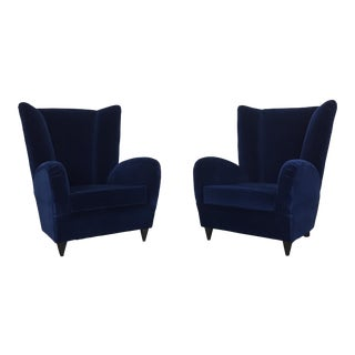 Paola Buffa Lounge Chairs in Navy Velvet - A Pair