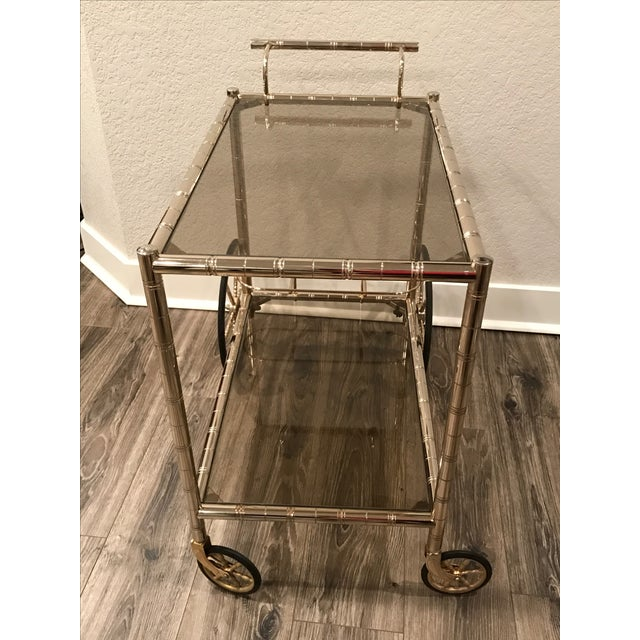 European Bar Cart With Bamboo Accents - Image 5 of 8