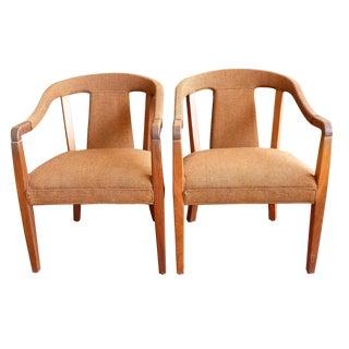 Mid Century Modern Walnut Spoonback Chairs - Pair