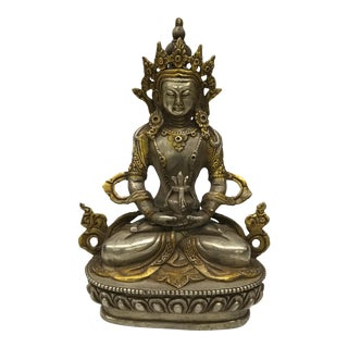 Gold Gilt Bronze Tibetan Sitting Buddha Statue