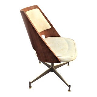 Mid-Century Chromecraft Wood Bent Back Swivel Chair