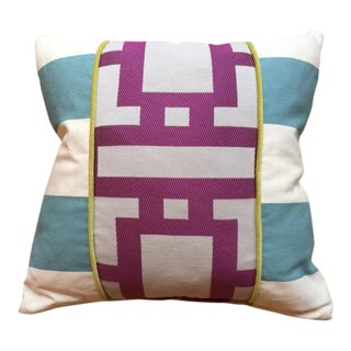 Cotton Blend Pillow with Robin Blue and Orchid Purple Geometric Lines