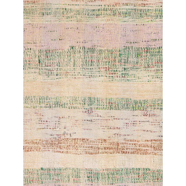 Vintage Turkish Flat Weave Rug: Vintage Pastel Colors Turkish Flat Weave Rug