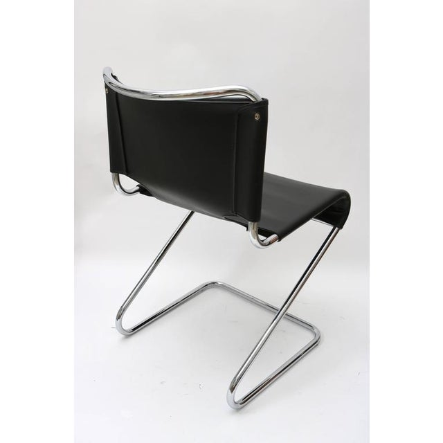 "Set of Four ""Briscia"" Side Chairs in Polished Chrome and Black Leather - Image 4 of 7"