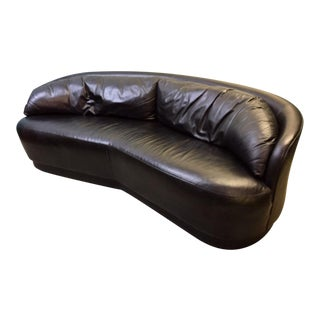 Black Leather Curved Couch