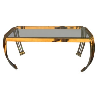 Pace Contemporary Brass and Glass Console Table