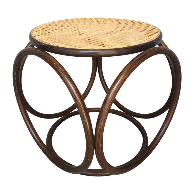 MCM Thonet Bentwood & Cane Ottoman or Side Table - Image 1 of 10