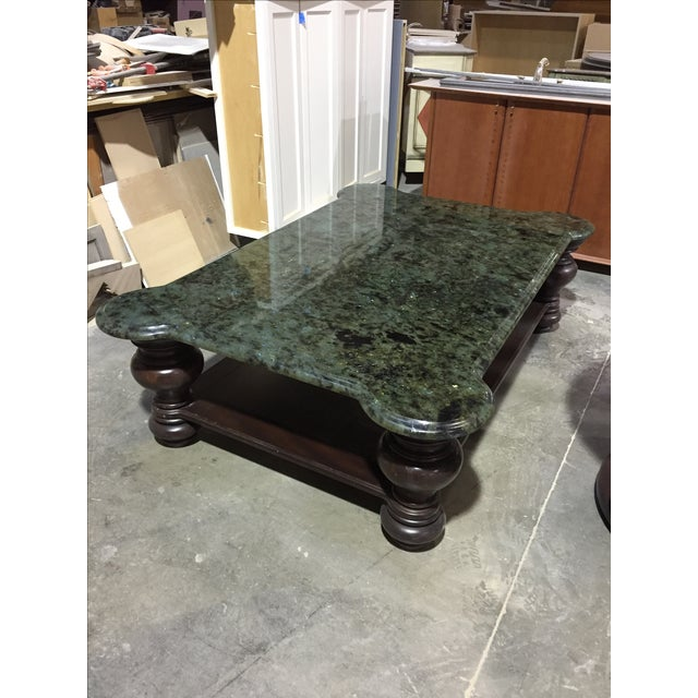 Mahogany Coffee Table With Granite Top - Image 2 of 4