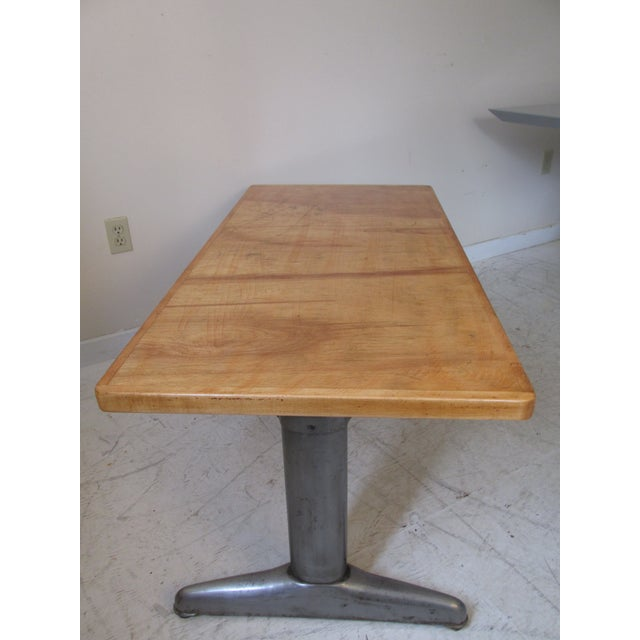 Image of Vintage Institutional Style Maple & Steel Coffee Table