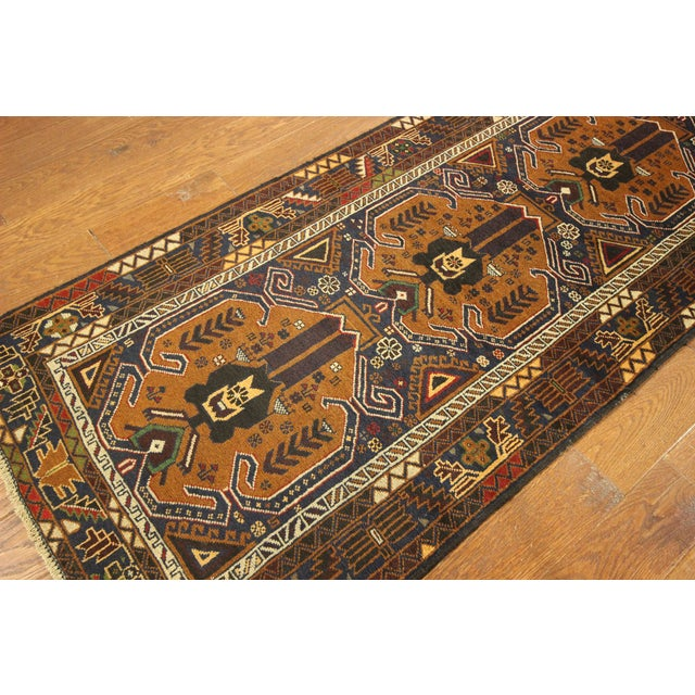 "Brown & Navy Balouch Runner Rug - 3' x 9'10"" - Image 4 of 9"
