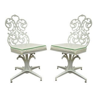 Vintage Victorian Style Woodard Patio Cast Aluminum Side Chairs - A Pair