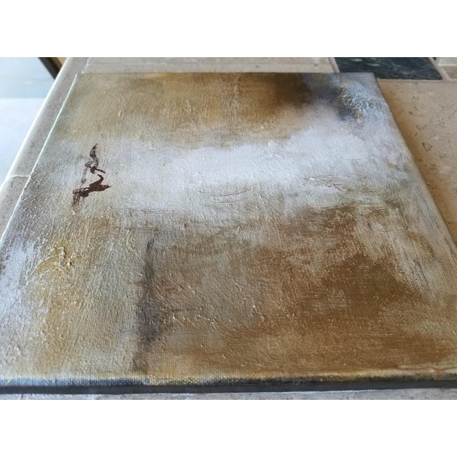 Burnished Metallic Gold Neutral Fine Original Textured Modern Abstract Painting - Image 2 of 2