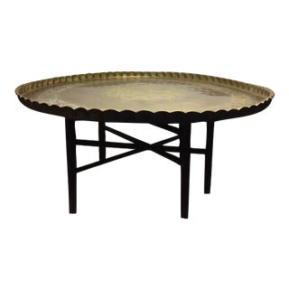 Vintage Moroccan Round Brass Tray Top Coffee Table