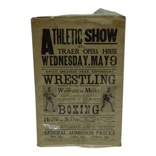 C. 1930 Boxing & Wrestling Poster Traer Opera House Athletic Show
