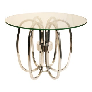 Mid-Century Modern Chrome & Glass Rings Side Table