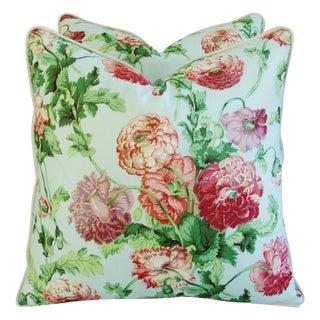 Designer Brunschwig & Fils Poppies Pillows - Pair
